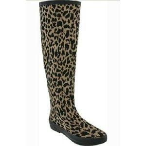 DAV Shoes - DAV Festival Leopard khaki fabric rainboots boots